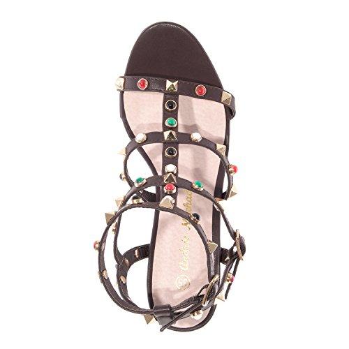 Andres Machado - AM5174 - Sandalen aus Soft in Weiss mit Nieten AM5174 Pinchos Braun