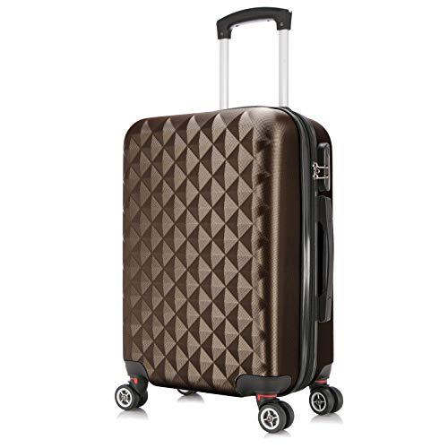 Reisekoffer Hartschale 4 Rollen Leichtgewicht Koffer Trolleys Gepäck Erweiterbar Hartschalenkoffer ABS Coffee XL