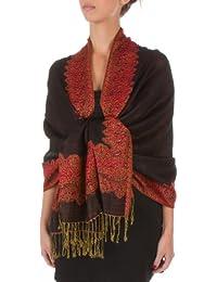 "Sakkas 70"" x 28"" Border Pattern Double Layer Woven Pashmina Feel Shawl / Wrap / Stole (20+ Elegant Colours) - New !"