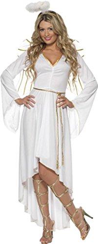 (Erwachsene Damen Weihnachten Fancy Kleid Party Outfit weiblich Engel Kostüm weiß, Weiß)
