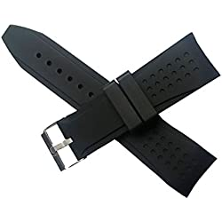 NEW Silicone Curved Watch Band Strap Diver Clasp Buckle Black 24mm Waterproof