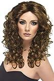 SMIFFYS Smiffy's Parrucca Glamour, Marrone, Lunga, riccia, Capo d'Abbigliamento Donna, (Chatain), Taglia unica