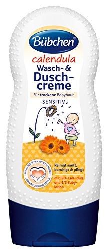 Bübchen Calendula Wasch- und Duschcreme mit 1/3 Pflegelotion Seife und Hautpflege für Babys, mit BIO-Calendula, Menge: 2 x 230 ml -
