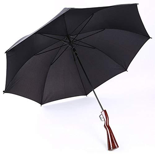 XMXWQ Regenschirm, kreatives lebensechtes Gewehr sonniger Regenschirm 8 Rippen Langer Griff gerade Werbungsregenschirm