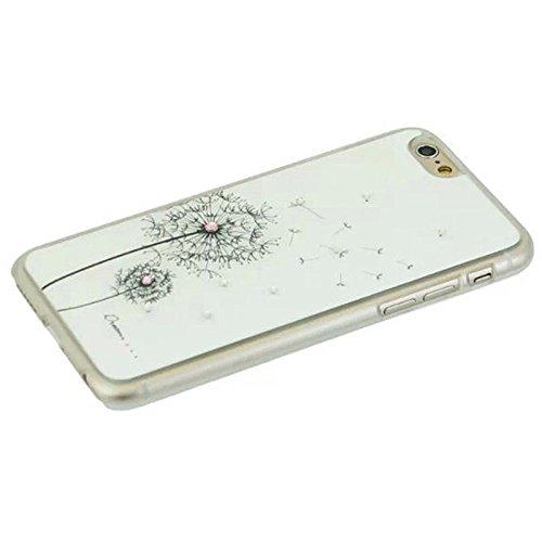 Pour IPhone 6 / 6S étui rigide incrusté de diamant de pissenlit JING ( Color : Black ) White