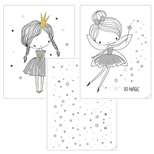 timalo® 3 Stück Kinderzimmer Bilder im Set - Bilderset süße Prinzessin, Sterne und Fee in grau rosa Mädchen Poster p-3er-set-011-A4
