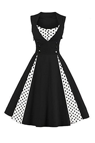 Babyonline Damen Vintage 1950er Jahre Rockabilly Pinup Faltenrock Abendkleider Schwarz Cocktailkleider Petticoat XL