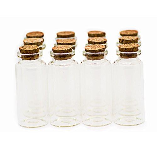 Ruby- 25 Mini Flasche 30mmx70mm, Mini Kleine Klar Farbe Glasflaschen mit dem Kork