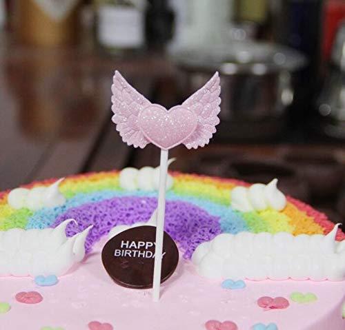 BRZM Partyrequisiten Engels-Flügel-Kuchen-Kuchen-Nachtisch-Tabellen-Papier-Backen-Kuchen-Einsatz für Geburtstagsfeier-Weihnachtskuchen-Dekor ( Farbe : Pnik )
