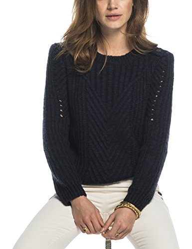 Maison Scotch Crew Neck Cable Knit with Button Detail on the Shoulder, Felpa Donna, Blau (Night 02), S