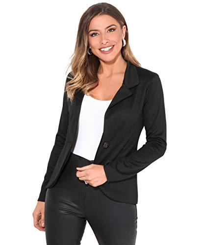 KRISP Blazer Femme Grandes Tailles Veste Costume Mode Chic Tailleur Pas Cher, Noir (3558), 36