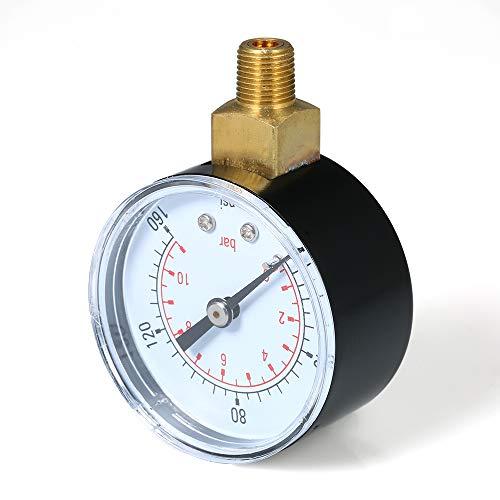 Festnight 0~160psi 0~11bar Dual Skala Mechanische Manometer Pool Filter Aquarium Wasser Luft Gas Manometer Meter 1/8 zoll NPT Untere montieren