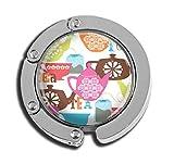 Taschenhaken, faltbar, Tee-Uhr-Motiv, Glasmuster