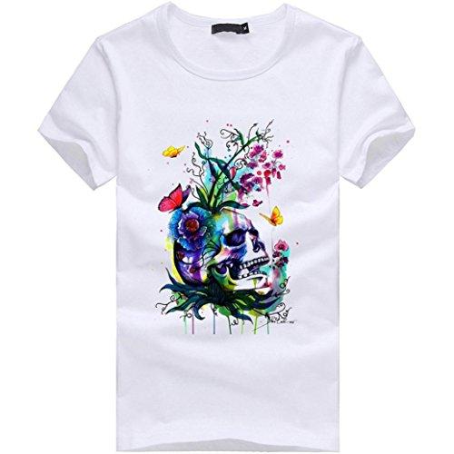 Amlaiworld Causal Buntes O-Neck Print T-Shirt für Herrent , 2017 New Fashion Kurzarm T-Shirts < (S, Weiß)