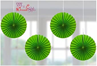 Dream Gift Green Paper Fans Decoration 12inch