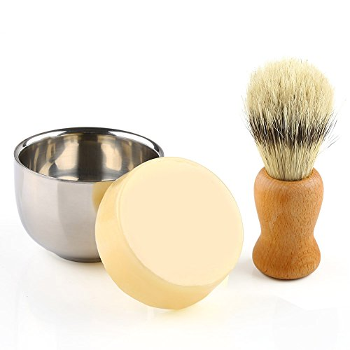 Anbbas Shaving Set, 3in1 Barber Shaving Brush Boar Bristle Hair Wood Handle with Shaving Mug 2 Layers Stainless Steel and Goat Milk Shaving Soap 100g Shave Kit for Men