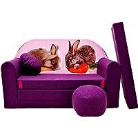 Preisvergleich für Pro Cosmo G1Kinder Sofa Bett mit Puff/Fußbank/Kissen, Stoff, Mehrfarbig, 168x 98x 60cm