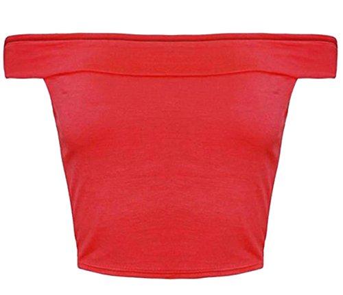 Damen Bandeau-BH-Top, ärmellos, schulterfrei Spannbetttuch Crop Tops Rot - Rot
