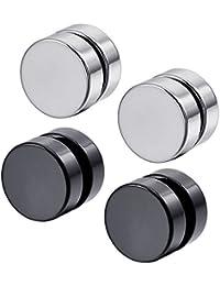 KONOV Schmuck Herren-Ohrringe, 2 Paare Kreis Magnet Ohrstecker, Edelstahl, Schwarz Silber