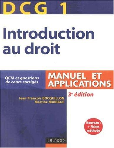 Introduction au droit DG1 : Manuel et applications
