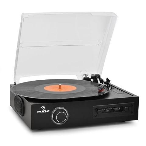 Auna TTS-T33 Stereoanlage (MP3-Aufnahme, LP/Kassette) schwarz