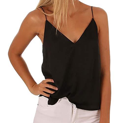 CUTUDE Damen T Shirt, Bluse Kurzarm Loses lässiges Sommer Ärmellos V-Ausschnitt Trägerloses Weste Oberteil Top Mode 2019 ()