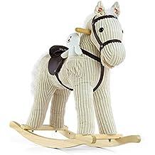 Milly Mally 5901761122183–Mecedora Caballo Balancín de juguete con efectos de sonido oso de peluche, color blanco