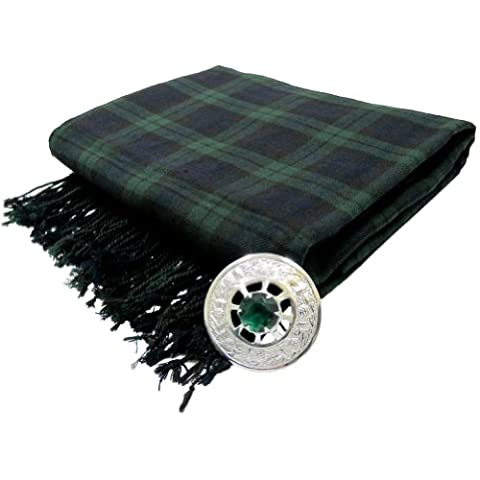 Tartanista - Fly plaid pour kilt avec broche - Black Watch - 269 x 134.5 cm