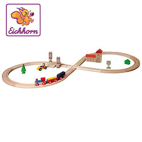 """Eichhorn 100001262 - Schienenbahn \""""Achterbahn\"""", 35-tlg., enthält Kurven, Schilder, Kreuzung, Bäume, Zug 4-tlg., Steckenlänge: 290cm, FSC 100{0cb6275b6323741d5d360d64a55045b31c80bc372c56097fb43dca7acb11606a} Zertifiziertes Buchenholz"""