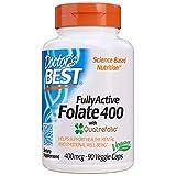 Doctor's Best | Folate 400 completamente attivo con Quatrefolic | 400 mcg | 90 capsule vegane | senza glutine