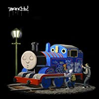 "imagenation Banksy - Thomas The Tank Engine Square - Framed Canvas Art Print : Size - 25CM X 25CM X 3CM DEPTH / 10"" X 10"" X 1"""