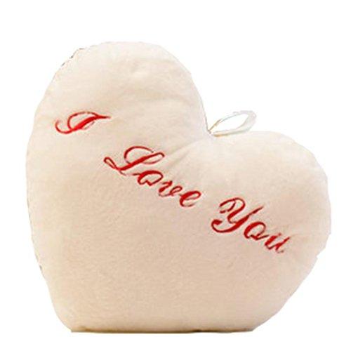 GZD Bunte Licht emittierende Kissen halten Plüsch Spielzeug Zum Valentinstag Weihnachten Geburtstagsgeschenk , white (Doppel Top Herz Kuchen)