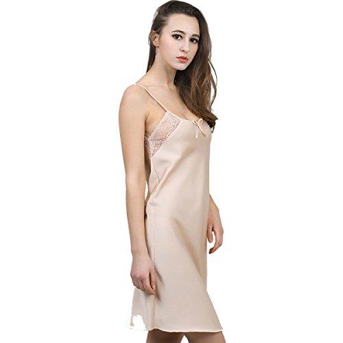 GSHGA Damen Pyjama Seide Eleganter Normallack Einfache Und Elegante Und Komfortable Gurtzeug Hängen Spitzenrock Champagne