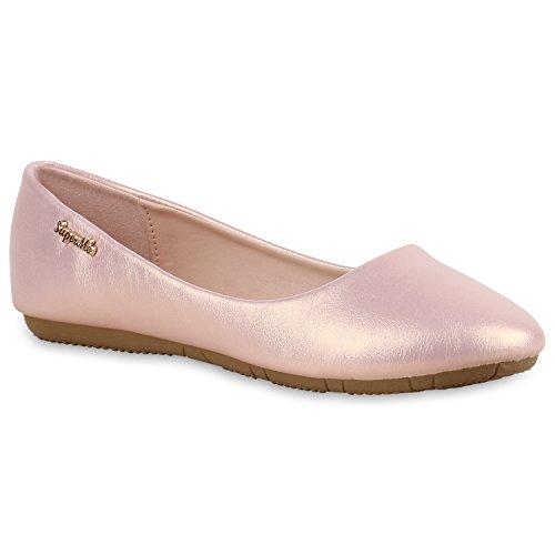 Stiefelparadies Klassische Damen Ballerinas Leder-Optik Flats Übergrößen Flache Slipper Spitze Prints Strass Schuhe 138376 Rosa Metallic 39 | Flandell® (Rosa Ballerinas)