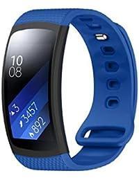 Sannysis Correas de reloj de silicón para Samsung Gear Fit 2 SM-R360, 145-195mm (Azul)