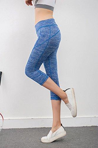 Fliegend Leggings Mujer Cintura Alta Pantalones de Yoga 3/4 Mallas Solid Pantalons de Fitness Push Up Leggins Elásticas Pantalones Deportivos Suave Cómodo