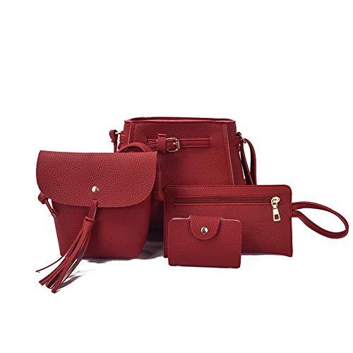 Fliyeong (4PCS Tasseled Lady 's One-Shoulder-Tasche geneigt Handset Pocket Purse 4 Handsets