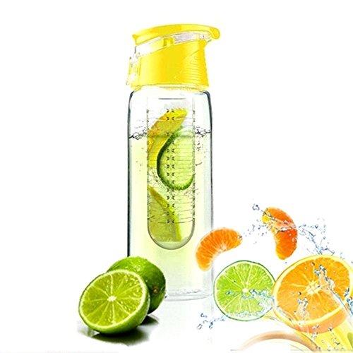 he 800ML Fruit Infuser Sports Trinkflasche Kunststoff Water Bottle BPA-frei Flasche mit Verschluss Gelb (Infuser Trinkflasche Gelb)