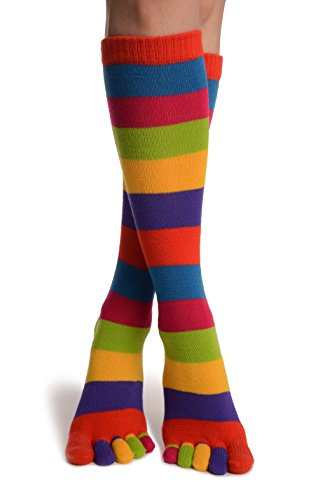 Bright Rainbow Stripes Below The Knee Toe Socks - Multicoloured Striped Socks