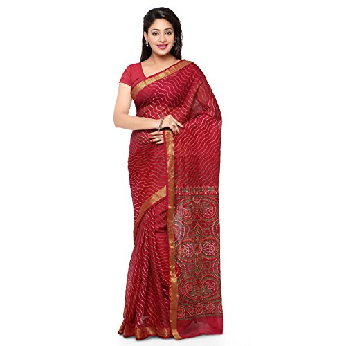 Rajnandini Women's Leheriya Bandhani Printed Kota Silk Cotton Saree(JOPLSRS1080F_Maroon_Free Size)