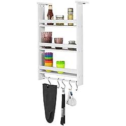 SoBuy® FRG150-W Étagère à suspendre pour réfrigérateur avec ventouses Étagère à épices en bois 3 étagères - Blanc
