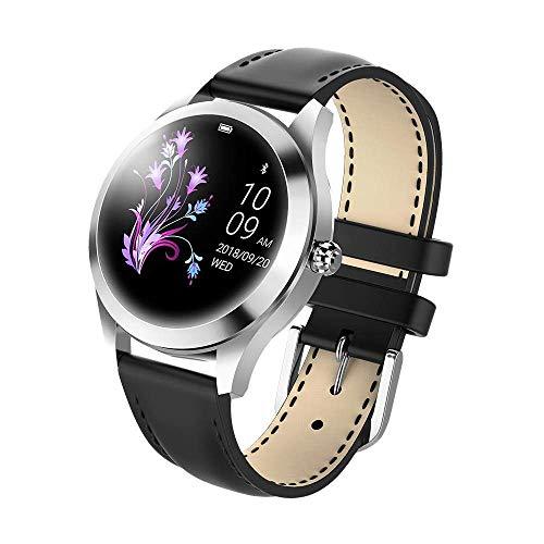 ZGYQGOO KW10 Mauml;dchen Mode Smartwatch IP68 Fitness Tracker Fuuml;r Damen, Armbanduhr Aus Stahl/Lederguuml;rtel, Multi-Sportmodus Fuuml;r IOS/Android
