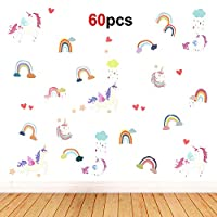 Howaf 60pcs Unicorn Wall Sticker Removable Vinyl Peel and Stick Wall Decal Mural DIY Home Windows Wall Decoration for Nursery Kids Baby Girls Bedroom Living Room Wall Decor or Party Birthday Gift