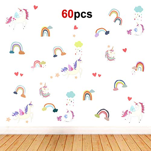 Howaf 60pcs Unicornio Etiqueta Pegatinas Decorativas