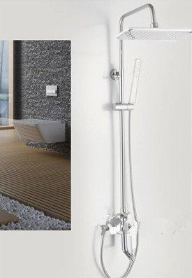 Gowe Finition chrome moderne de salle de bain douche Ensemble de robinet ABS Pomme de douche + douche à main en laiton à fixer au mur