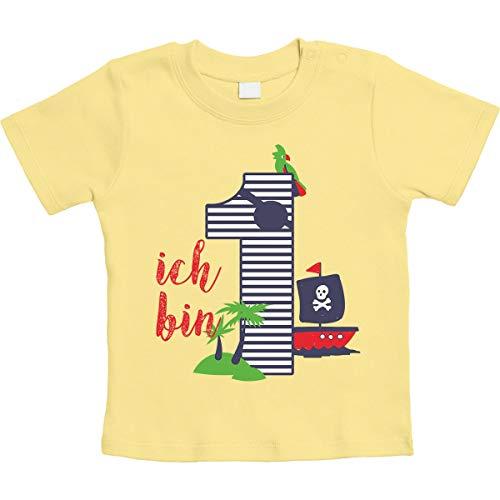 Shirtgeil 1 Jahr Geburtstag Piraten Geschenk Jungen Baby T-Shirt 12-18 Monate / 86 Gelb (Geburtstag Gelben T-shirt)