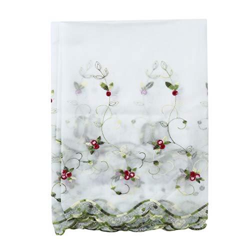 Yeucan Short Curtain Half Pastoral Gestickte Rose Pattern Lace Fenster Vorhang für Home Kitchen Shower, Rose weiß 150 * 65