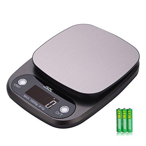 Jsdl bilancia cucina digitale,bilancia elettronica da cucina (10 kg, 0.1 oz / 1 g), bilancia digitale con display lcd, acciaio inossidabile,grammatura accurata, batterie incluse (bord)