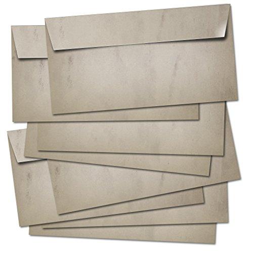 50 BUSTE POSTALI lunghe 100g/m² - adatte per A4/senza finestra/autoadesivo/colorato in design retrò vintage in grigio