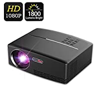 1800 Lumens 1080P Projector, VPRAWLS LED Mini Movie Projector Support Full HD Portable Multimedia Projector for Home Theater Cinema Movie Entertainment